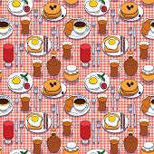 Vector Seamless Pattern Of Breakfast Food. Set Of Hand Drawn Meal For Breakfast. Top View Of Differe poster