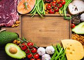 Wooden Cutting Board And Ketogenic Low Carbs Ingredients For Healthy Weight Loss Diet, Top View, Cop poster