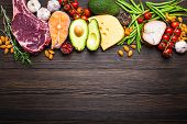Ketogenic Low Carbs Ingredients For Healthy Weight Loss Diet, Top View, Copy Space. Keto Foods On Wo poster