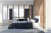 White And Wooden Bedroom Interior, Closet poster