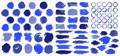 Blue Paint Stains Brush Stroke Backgrounds Set. Dirty Artistic Vector Design Elements, Boxes, Frames poster
