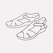 Sandals Icon Line Element.  Illustration Of Sandals Icon Line Isolated On Clean Background For Your  poster