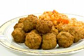 Fresh Balls Of Choppedmixed Meat - Beef And Pork.With Risotto