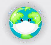 Sad Planet Earth Wearing Protective Face Masks . Environmental Pollution Concept. Fine Dust, Air Pol poster