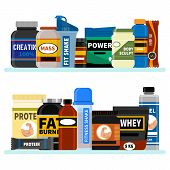 Sports Nutrition Supplement On Shelf. Fitness. Protein Shakers Energy Drinks. Vector Illustration He poster