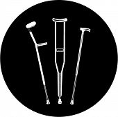 Vector crutches icon. Black and white. Simply change. In my portfolio there is version 4 in 1.