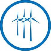 Ícone de turbina de vento de vetor. Azul e branco. Simplesmente mude. Na minha carteira há versão 4 em 1