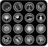 Vector icons médicas. Blanco y negro. Simplemente cambiar.