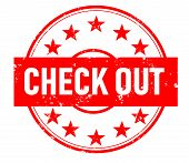 Check Out Stamp Red Rubber Stamp On White Background. Check Out Stamp Sign. Check Out Stamp. Grunge  poster