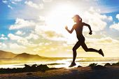 Running fitness woman jogging in summer outdoor. Fit active lifestyle athlete training cardio outsid poster