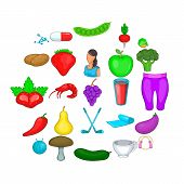 Low Calorie Icons Set. Cartoon Set Of 25 Low Calorie Vector Icons For Web Isolated On White Backgrou poster