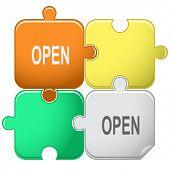 Open. Vector puzzle.