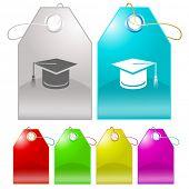 Graduation cap. Vector tags.
