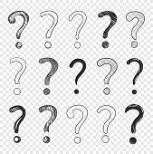 Vector Doodle Hand Drawn Question Marks Set Isolated On Light Transparent Background, Black Drawings poster