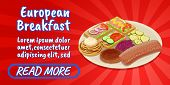 European Breakfast Concept Banner. Isometric Banner Of European Breakfast Comics Concept For Web, Gi poster