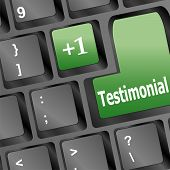 stock photo of tribute  - Testimonials computer key shows recommendations and tributes online - JPG
