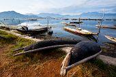 Landscape With Boat, Mountains And Clouds Cau Hai Lagoon (thua Thien Hue, Vietnam)