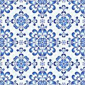 White-blue Gzhel Seamless Pattern