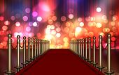 Red Carpet Entrance With Multi Colored Light Burst