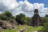 Photo of temple of the great jaguar in tikal.