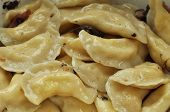 Traditional Ukrainian Dumplings With Cracklings Closeup