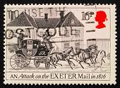 Postage stamp GB 1984 An Attack on the Exeter Mail in1816