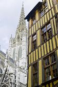 Rouen - Exterior Of Ancient House And Church