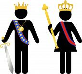 stock photo of scepter  - Symbol people royal king and queen with crowns scepter sword - JPG
