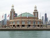 Navy Pier Pavillion And Chicago Skyline