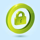 Green lock symbol isolated on blue background
