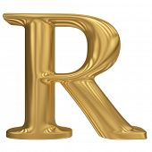 Golden letter R. Gold solid alphabet, high quality 3d render