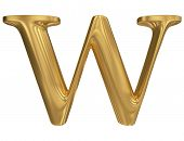 Golden letter W. Gold solid alphabet, high quality 3d render