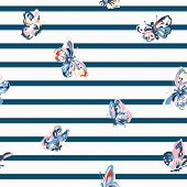 Vector vintage seamless pattern with stripes and butterflies