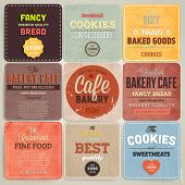 Set of retro bakery label cards for vintage design, old paper textures background and seamless patterns