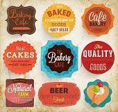 Set of retro bakery label cards for vintage design, old paper textures and seamless patterns. Vintag
