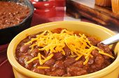 Bowl Of Chili With Cheddar Cheese