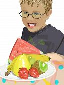 pic of wane  - Beautiful colorful plate of crisp summer fruits woth a boy eagerly waning to eat it - JPG