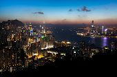 View of Hong Kong Island and Victoria Harbour at Sunset
