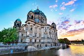picture of dom  - sunset at Berlin Cathedral  - JPG