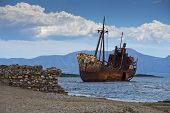 pic of shipwreck  - Dimitrios shipwreck at Selinitsa beach near Gytheio Greece - JPG