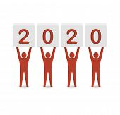 Men holding the 2020 year. Concept 3D illustration.