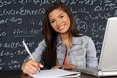 stock photo of middle class  - Student at school in the classroom ready for class - JPG