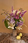 Still Life Bouquet Of Hemerocallis And Astilbe With Rope And Apples