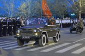 SEVASTOPOL, UKRAINE - MAY 7: Car with the flag on the rehearsal of military parade in honor of Victo