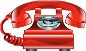 Ícone de telefone antiquado velho vermelho brilhante