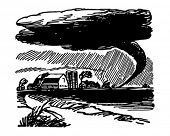 Tornado Approaching Farm - Retro Clip Art Illustration