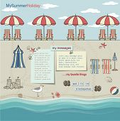 Rows of red/white umbrellas on a sandy beach by the sea, with lounge chairs, summer vacation accesso