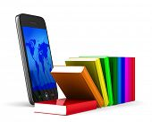 phone and books on white background. Isolated 3D image