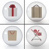 set of objects for shopping, styled into transparent spheres on white background