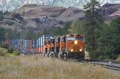image of bnsf  - An intermodal freight train passing through Flagstaff - JPG
